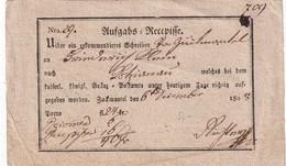 ALLEMAGNE 1808 AUSGABE RECEPISSE VON ZUCKMANTEL - Deutschland