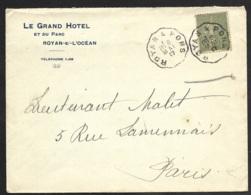 Enveloppe Avec Cachet Convoyeur ROYAN A PONS - Marcophilie (Lettres)