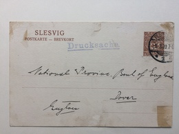 SCHELSWIG HOLSTEIN - Slesvig Postkarte With Drucksache Cachet Sent To Dover England - Schleswig-Holstein