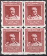 # Italia 1957: Cicerone - Quartina MNH ** - 6. 1946-.. República