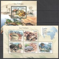 S980 2011 UNION DES COMORES FAUNA REPTILES TURTLES LES TORTUES 1KB+1BL MNH - Tortues