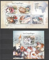 S981 2011 UNION DES COMORES MARINE LIFE SEASHELLS LES COQUILLAGES 1KB+1BL MNH - Coquillages