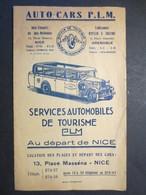 Nice - Auto-Cars P.L.M  Au Départ De Nice - Livret Horaire - Plans - Tarif - Ets Ripellin & Traffort à Grenoble - B.E - - Trucks