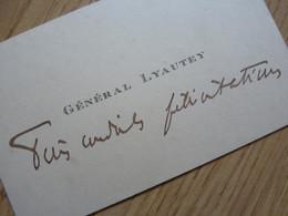 Marechal LYAUTEY (1854-1934) Gouverneur MAROC. Académie Française. Scout ... AUTOGRAPHE CDV / Visiting Card - Autographs