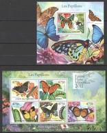 S989 2011 UNION DES COMORES FAUNE FLORE MINERAUX PAPILLONS BUTTERFLIES 1KB+1BL MNH - Papillons