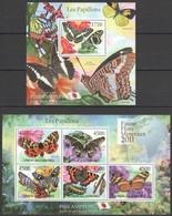 S990 2011 UNION DES COMORES FAUNE FLORE MINERAUX PAPILLONS BUTTERFLIES 1KB+1BL MNH - Papillons