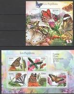 S991 2011 UNION DES COMORES FAUNE FLORE MINERAUX PAPILLONS BUTTERFLIES 1KB+1BL MNH - Papillons