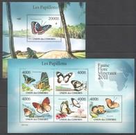 S992 2011 UNION DES COMORES FAUNE FLORE MINERAUX PAPILLONS BUTTERFLIES 1KB+1BL MNH - Papillons