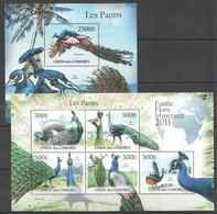S995 2011 UNION DES COMORES FAUNE FLORE MINERAUX BIRDS LES PAONS 1KB+1BL MNH - Paons