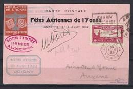 Meeting D'aviation De Joigny Le 15 Aout 1932, Signé Par Le Pilot Marcel Doret Sur Très Belle Carte Postale - Meetings