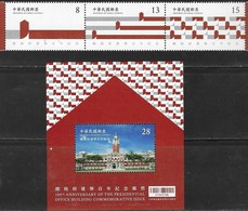 TAIWAN, 2019, MNH , ARCHITECTURE, 100th ANNIVERSARY OF PRESIDENTIAL OFFICE, 3v+S/SHEET - Architecture