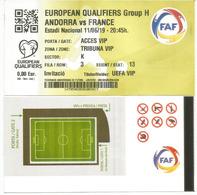 UEFA EUROPEAN QUALIFIERS.2020. ANDORRA-FRANCE, .11 JUNE 2019. Ticket VIP. ESTADI NACIONAL ANDORRA - Otros