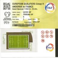 UEFA EUROPEAN QUALIFIERS.2020. ANDORRA-FRANCE, .11 JUNE 2019. Ticket VIP. ESTADI NACIONAL ANDORRA - Tickets - Entradas