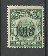 EL SALVADOR 1918 Timbre Municipal Local OPT Revenue Tax Stempelmarke MNH - El Salvador