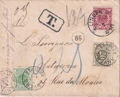ALLEMAGNE 1898 LETTRE DE LINDEN TAXEE A ANVERS - Germany