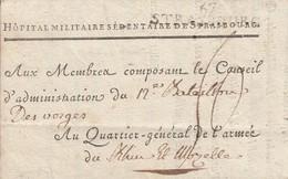 Timbre 67 STRASBOURG [41 X 8,5] Sur LAC Du 14.5.1796 Adressée à L'Armée De Rhin Et Moselle Avec Taxe Manuscrite 50 - Marcophilie (Lettres)