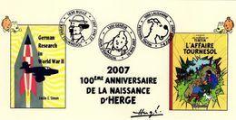 SUISSE Tintin HERGE Carte Illustrée Avec Les 3 Cachets Des Manifestations 2007 : Genève - Bulle - Lausanne - Bandes Dessinées