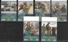 JORDAN, 2019, MNH ,MILITARY, HUMANITARIAN ROLE OF ARAB ARMY, UN, FOOD DISTRIBUTION, JEEPS, 6v - Militaria