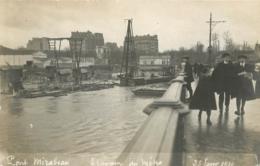 PARIS CARTE PHOTO CRUE 01/1910 PONT MIRABEAU TRAVAUX DU METRO PHOTO MAURICE - De Overstroming Van 1910