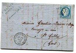 RHONE De ST GEORGES DE RENEINS LAC Du 24/10/1872 Avec N°60 Oblitéré GC 3623 - 1849-1876: Classic Period