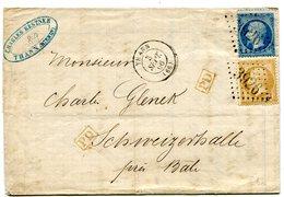 HAUT RHIN De THANN Pour La SUISSE LAC Du 3/09/1866 Avec N°21+N°22 Oblitérés GC 3926+ Cachet PD Rouge - 1849-1876: Période Classique