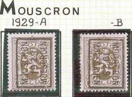 OCVB N° 5160    MOUSCRON 1929 MOESCROEN A & B - Préoblitérés