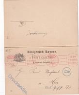 BAYERN 1910 CARTE AVEC REPONSE PAYEE DE MÜNCHEN  EMA - Bayern