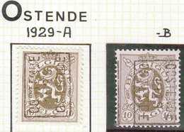 OCVB N° 5163    OOSTENDE 1929 OSTENDE  A &  B - Préoblitérés