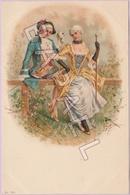 Couple En Vêtement D'Époque - Bouquet De Fleurs Et Canne (Recto-Verso) - 1900-1949