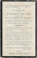 Doodsprentje  *  De Leu Juliana (° Gent 1845 /  + Sleydinge 1914)  X De Schauwers Joannes-Baptiste - Religion &  Esoterik