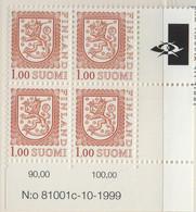 PIA - FINLANDIA - 1981/1999 : Stemma - Leone Rampante - Nuovo Tipo - (Yv 840a X 4) - Finlandia