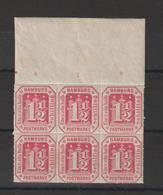 Allemagne Hambourg 1866 Bloc De 6 Du N° 23 Bord De Feuille ** Mais Avec Rousseurs - Hamburg