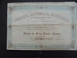 TOURNUS, SAONE ET LOIRE - SUCRERIE, RAFFINERIE, DISTILLERIE - ACTION 500 FRS - LANET ET FILS 1855 - Actions & Titres