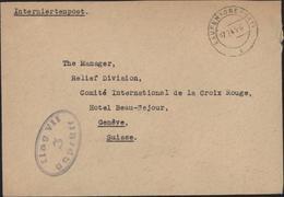 Guerre 39 45 Gepruft Ilag VII 3 CAD Laufen (Oberbay) 27 2 45 ? Interniertenpost Pour Croix Rouge Genève Suisse - Storia Postale