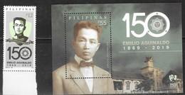 PHILIPPINES, 2019, MNH, REVOLUTIONARIES, EMILIO AGUINADLO, HISTORY, 1v+S/SHEET - History