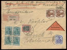 S8102 - DR Marienwerder Germania Infa 5 Pfg Germania 4er Block MiF Auf R - NN Briefumschlag : Gebraucht Riesenburg - Lau - Besetzungen 1914-18