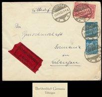 S8096 - DR Infla Express Briefumschlag Studentika: Gebraucht Burschenschaft Germania Tübingen - Erlangen 1923, Bedarfse - Briefe U. Dokumente