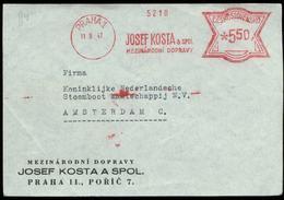 S8092 - CSSR Briefvorderseite Mit Freistempel: Gebraucht Prag - Amsterdam 1947, Bedarfserhaltung. - Briefe U. Dokumente