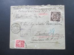 Lettland 1924 Wertbrief / Einschreiben Gestempelter R-Zettel Jelgawa Via Litauen Nach Hamburg Michel Nr. 98 MiF - Lettland