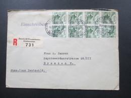 Schweiz 1949 Landschaften Nr. 501 (8) MeF 1x Senkr. 4er Streifen / 1x Senkr. 3er Streifen Einschreiben Zürich 22 Fraumün - Briefe U. Dokumente