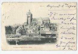 39 Jura - Dole Le Canal Et église Notre Dame Cachet 1900 - 2scans - Dole