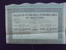 ESPAGNE, SAN SEBASTIAN - STE FUNDIARA ET INMOBILIARIA DE MARTUTENE - ACTION DE BENEFICE - 1909 - Hist. Wertpapiere - Nonvaleurs