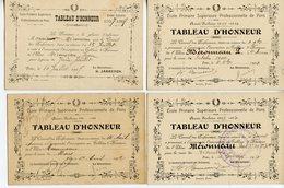 1288. PONS 17 ECOLE PRIMAIRE SUPERIEURE PROFESSIONNELLE. LOT DE 4 CARTONS TABLEAU D'HONNEUR 1907/1912 - Diploma & School Reports