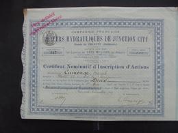 USA, CALIFORNIE - PLACERS HYDRAULIQUES JUNCTION CITY - CERTIFICAT DE 2 ACTIONS 500 FRS - PARIS 1899 - Actions & Titres