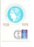 CARTE MAXIMUM 1978 ACADEMIE DE PHILATELIE - Maximumkarten