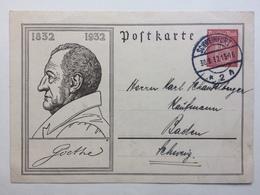 GERMANY 1931 Postcard Mi P214 15 Pf Red - Schweinfurt To Baden - Germany