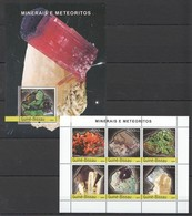 C1043 2004 GUINE-BISSAU NATURE MINERAIS E METEORITOS 1KB+1BL MNH - Minéraux