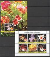C1046 2004 GUINE-BISSAU FLORA FLOWERS MUSHROOMS COGUMELOS E ORQUIDEAS 1BL+1KB MNH - Orchidées