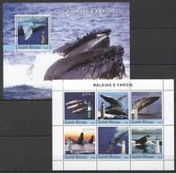 C1048 2004 GUINE-BISSAU MARINE LIFE WHALES BALEIAS E FAROIS 1KB+1BL MNH - Baleines