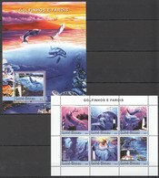 C1049 2004 GUINE-BISSAU FISH & MARINE LIFE DOLPHINS GOLDINHOS E FAROIS 1BL+1KB MNH - Dauphins